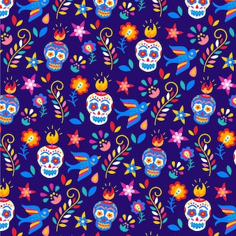 Dia de muertos pattern in design piatto