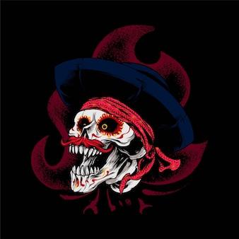 Illustrazione di teschio dia de muertos, perfetta per t-shirt, abbigliamento o design di merchandising