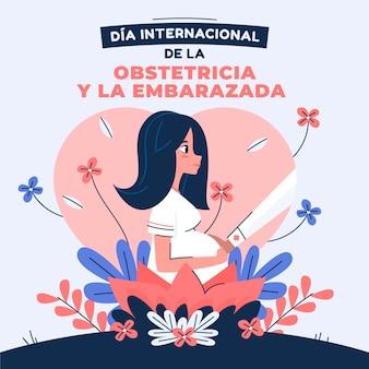 Dia internacional de la obstetricia y la embarazada illustrazione