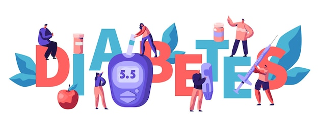 Test del livello di zucchero nel sangue del diabete al poster di tipografia del glucometro digitale. medico che misura il glucosio con il dispositivo in linea all'illustrazione piana di vettore del fumetto dell'insegna pubblicitaria dell'attrezzatura di monitoraggio blu