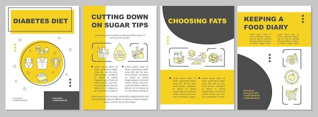 Modello dell'opuscolo di dieta del diabete. scelta di prodotti con grassi. volantino, opuscolo, stampa di volantini, copertina con icone lineari. layout vettoriali per presentazioni, relazioni annuali, pagine pubblicitarie