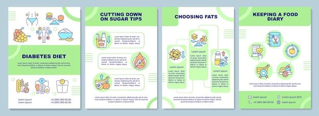Modello dell'opuscolo di dieta del diabete. ridurre le punte di zucchero. volantino, opuscolo, stampa di volantini, copertina con icone lineari.