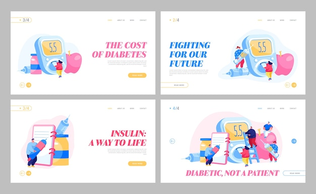 Malattia del diabete, insieme di modelli di pagina di destinazione della terapia di controllo della dieta