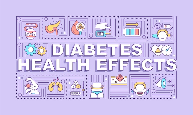 Insegna di concetti di parola di effetti sulla salute del diabete sintomi di malattie.