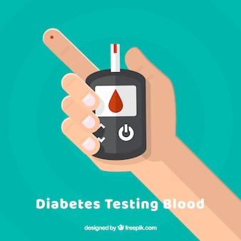 Diabete test della composizione del sangue con design piatto