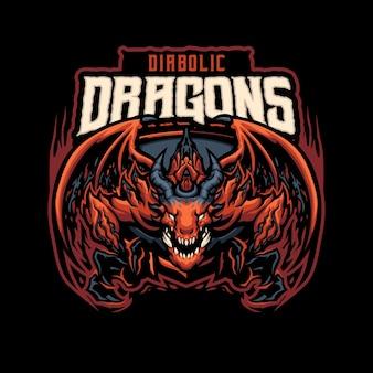Logo della mascotte del drago diabolico per sport e sport di squadra