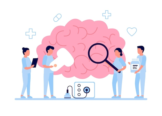 Controllo diagnostico della salute del cervello da parte del medico.