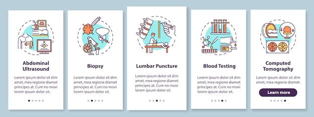 Procedure diagnostiche per l'onboarding della schermata della pagina dell'app mobile con concetti Vettore Premium