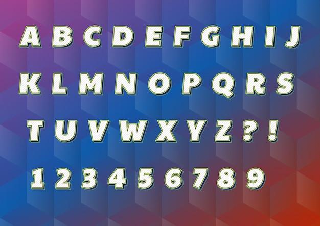Set di numeri di alfabeti di linee di griglia diagonale 3d