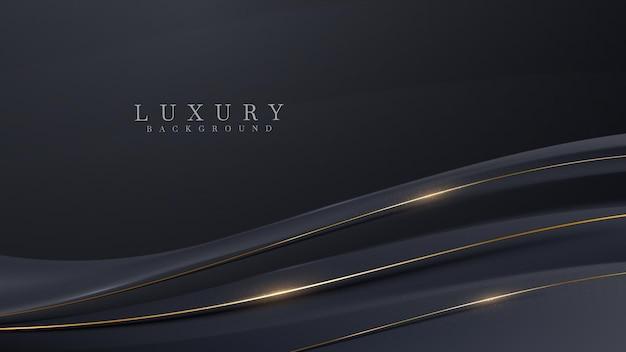 Le linee diagonali della curva dorata brillano di lusso su sfondo nero, concetto moderno di design di copertura, illustrazione vettoriale.