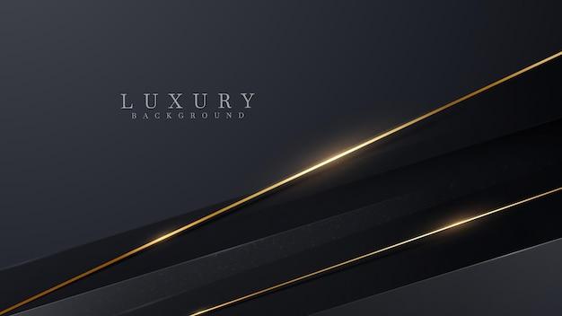 Le linee diagonali dorate brillano di lusso su sfondo nero, concetto moderno di design di copertina, illustrazione vettoriale.