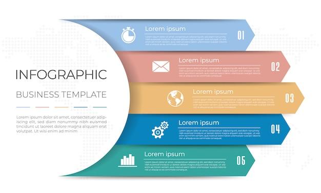Diagramma infografica modello 5 opzioni.