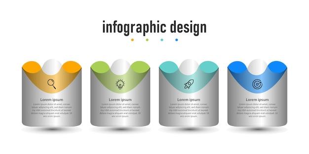 Modello di infographic di affari di presentazione di progettazione di infographic del tubo del diagramma con 5 opzioni