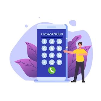 Comporre il concetto di connessione del numero in stile piatto