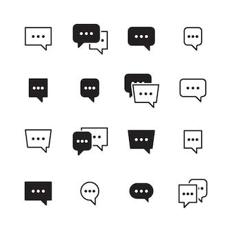 Bolle di dialogo. pittogramma di dialogo delle icone della casella di chat di conversazione per i messaggeri. il dialogo della finestra di dialogo, il messaggio di comunicazione e il fumetto comunicano l'illustrazione
