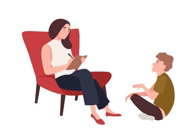 Dialogo tra psicologo donna, psicoanalista o psicoterapeuta e paziente bambino seduto di fronte a lei. psicoterapia infantile, aiuto psicoterapeutico per adolescenti. illustrazione di vettore del fumetto piatto.