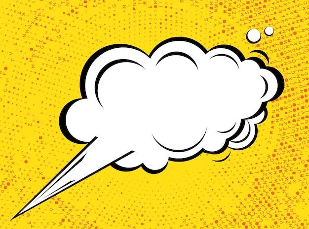 Bolla di dialogo in stile fumetto pop art con texture mezzitoni. illustrazione di vettore.