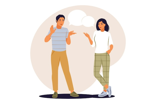 Concetto di dialogo. uomo e donna che parlano con i fumetti. illustrazione vettoriale. appartamento.