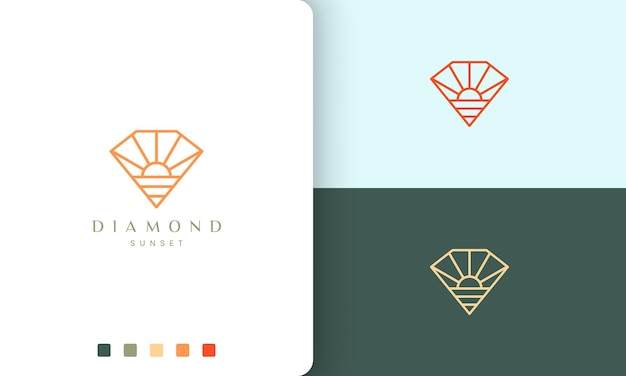 Logo da spiaggia a forma di diamante a forma di sole in semplice linea mono e stile moderno