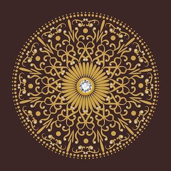 Vettore di lusso del fondo del cerchio del fiore del diamante