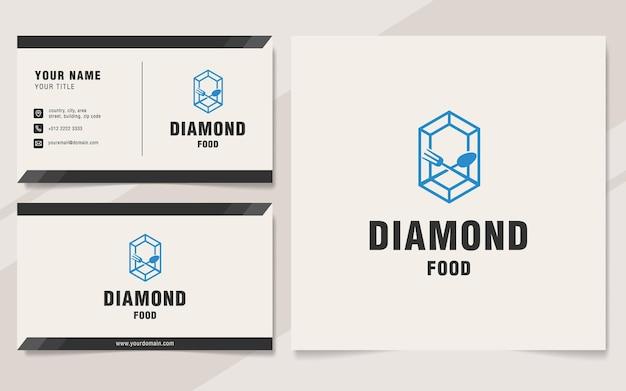 Modello di logo di cibo diamante su stile monogramma