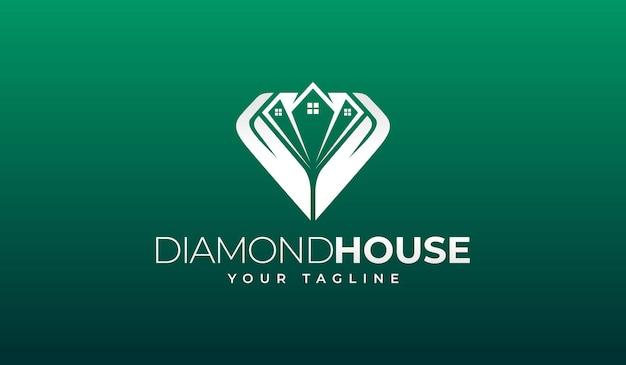 Design creativo del logo della casa del diamante