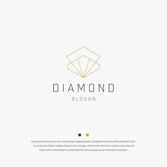 Vettore del modello di progettazione dell'icona del logo piatto minimalista dei gioielli con diamanti