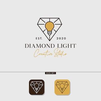 Concetto di logo monoline dello studio creativo della luce del diamante