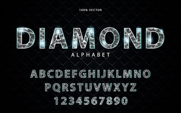 Alfabeto stile diamante chiaro