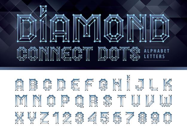 Diamond line connect dots alfabeto lettere e numeri