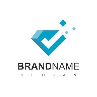 Logo del diamante, gemma di buona qualità con simbolo di spunta