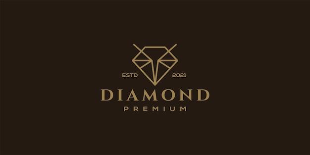Qualità premium del modello di vettore dell'illustrazione di arte della linea del logo del diamante