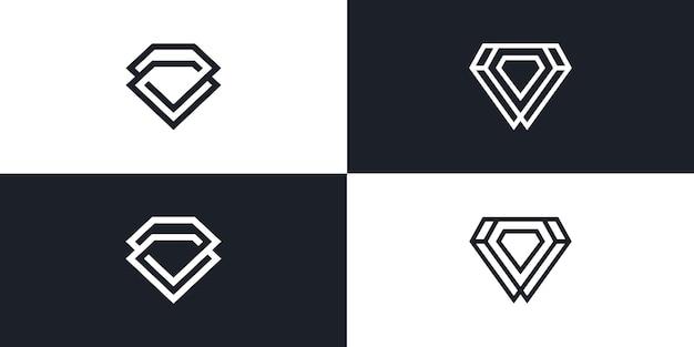 Modello di vettore dell'illustrazione di arte della linea del logo del diamante