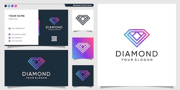 Logo a diamante con stile artistico a linea sfumata e design di biglietti da visita vettore premium