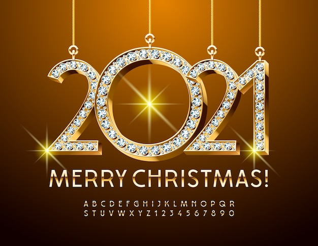 Diamante merry christmas 2021. golde alphabet letters and numbers. carattere lucido Vettore Premium