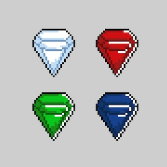 Colore del diamante con stile pixel art