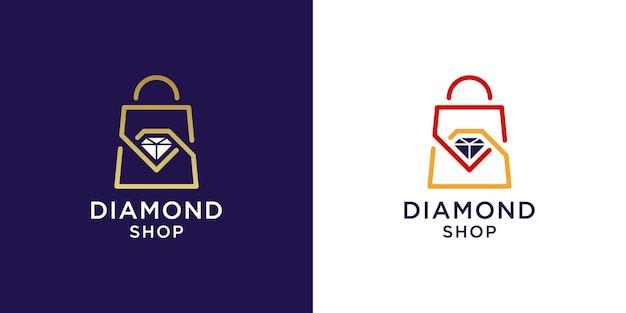 Logo del negozio di diamanti con design della borsa della spesa