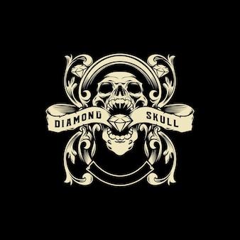 Illustrazione di vettore del logo del cranio del diamante