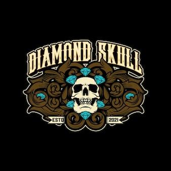 Logo vettoriale vintage di teschio di diamante