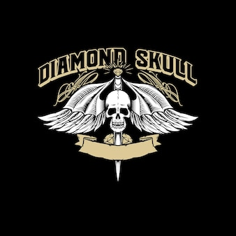 Ali di teschio di diamante logo vector illustration