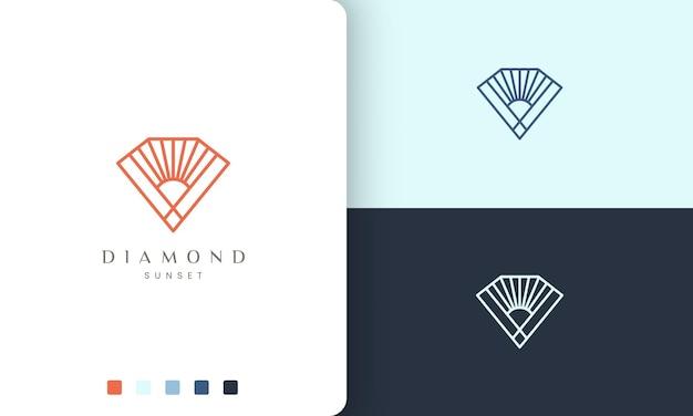 Logo a forma di diamante o sole in stile linea mono