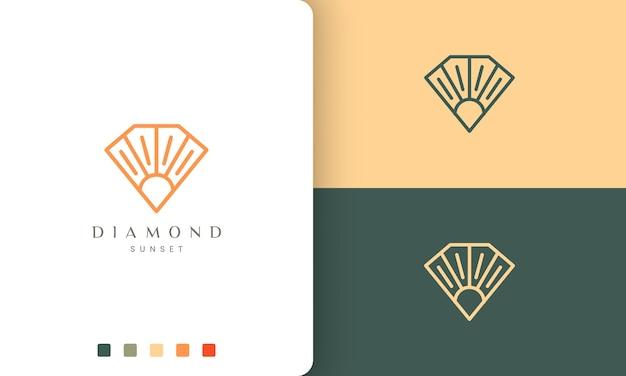 Logo del sole di diamante in una linea artistica unica e in stile moderno