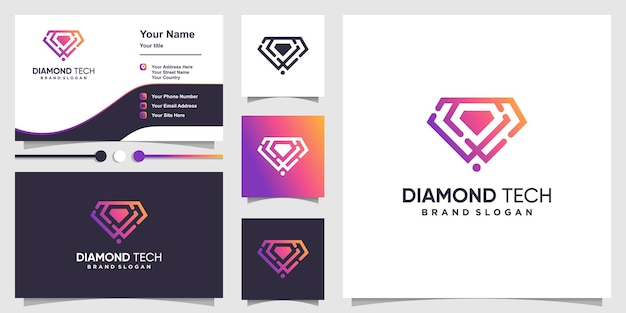 Logo diamond tech con uno stile artistico semplice e unico vettore premium