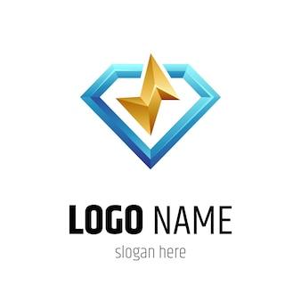 Modello di concetto di logo di diamante e tuono