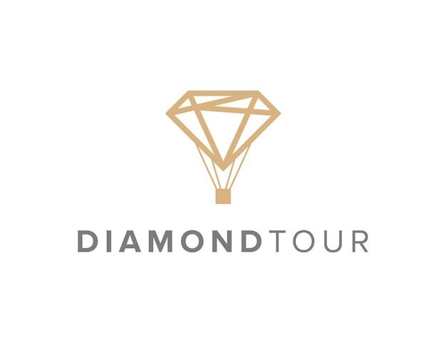 Diamante tour delineare semplice elegante design geometrico creativo moderno logo