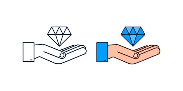 Diamante con l'icona della mano diamante con l'icona della mano in un design alla moda in stile piatto
