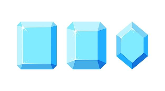 Diamanti con diverse sfaccettature set di cristalli di diamante quadrati ed esagonali con vista dall'alto