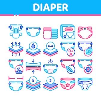 Set di icone di pannolino per neonato raccolta