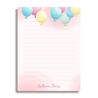 Libro diario con baloons dipinti disegnati a mano