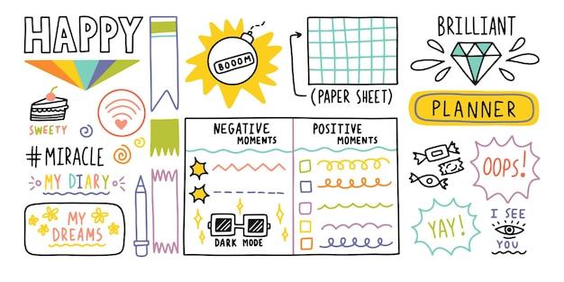 Diario proiettile elementi di bordo del diario carino nota adesivo icona per la scuola illustrazione vettoriale